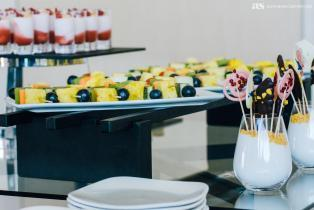 Fruit and dessert display at a conference