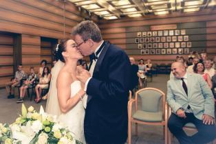 The first kiss as husnband and wife