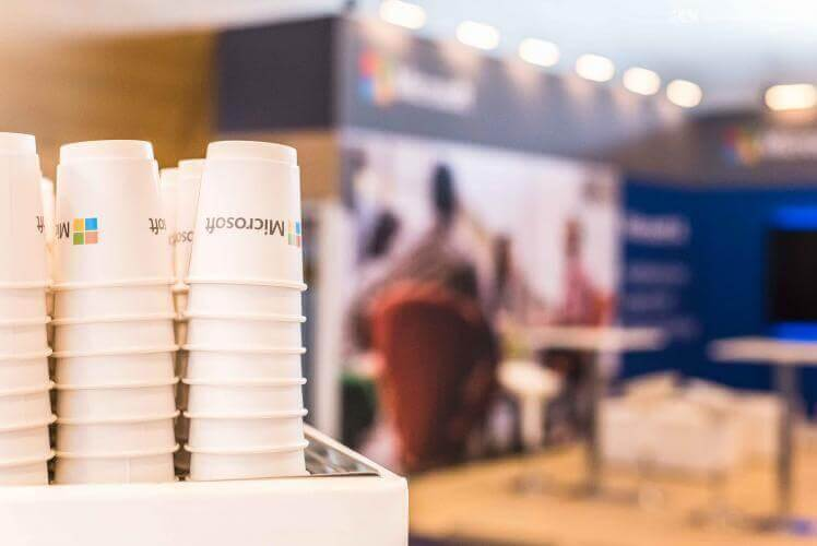 Microsoft coffee stand the Gartner Symphosium